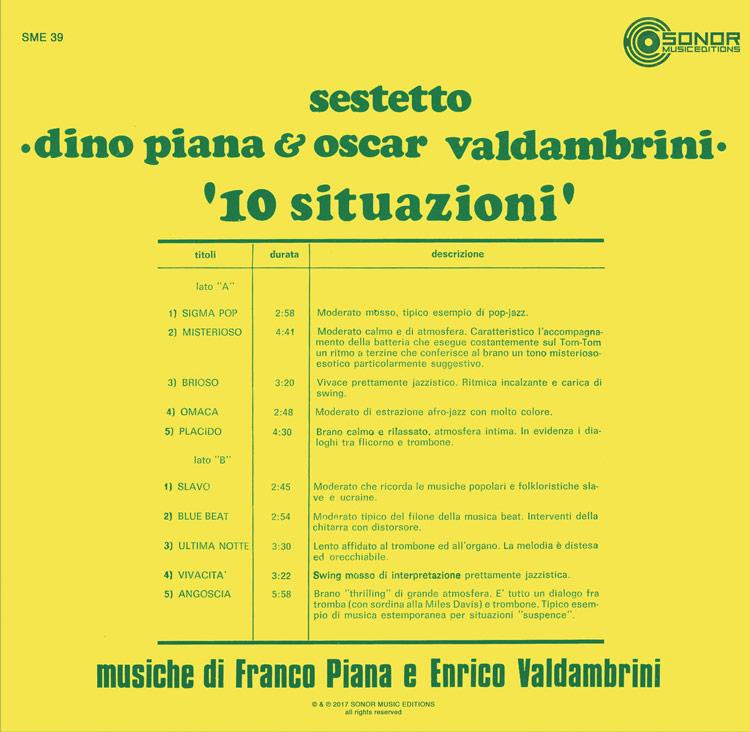 Sestetto Dino Piana & Oscar Valdambrini - 10 Situazioni (New LP)