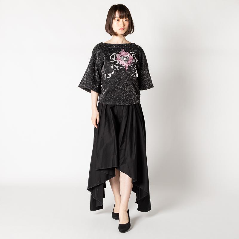 MEMUSE リボン刺繍トップス