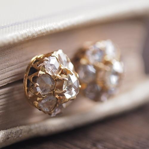 18金 ローズカットダイヤモンド クラスタースタッドピアス