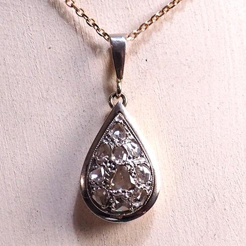 18金 ホワイトゴールド ローズカットダイヤモンド ドロップペンダント