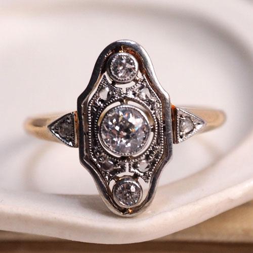 14金 トリプル ダイヤモンド アールデコリング  (アンティークジュエリー)
