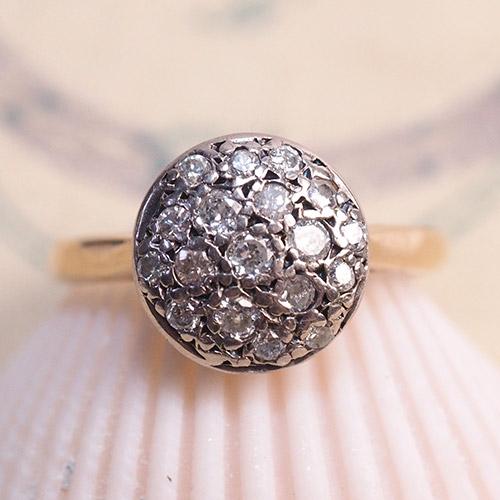 9金 パヴェダイヤモンド サークルリング