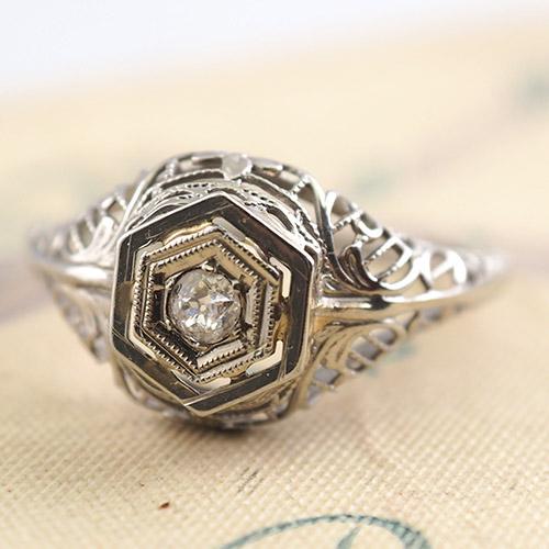 14金 ホワイトゴールド フィリグリ ダイヤモンド ソリティアリング