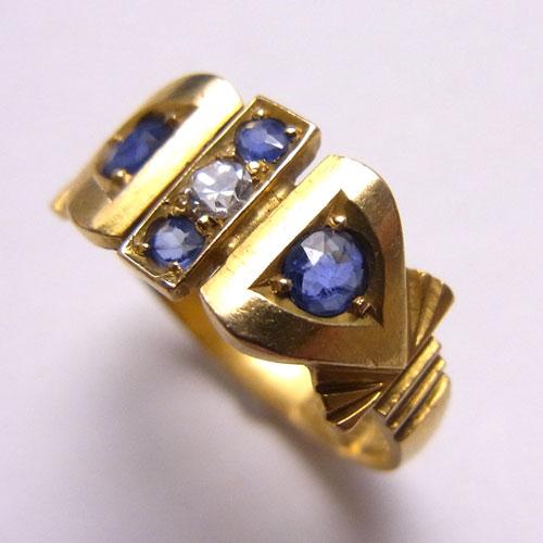 18金 ブルーサファイヤ&ダイヤモンド 1900年 リング
