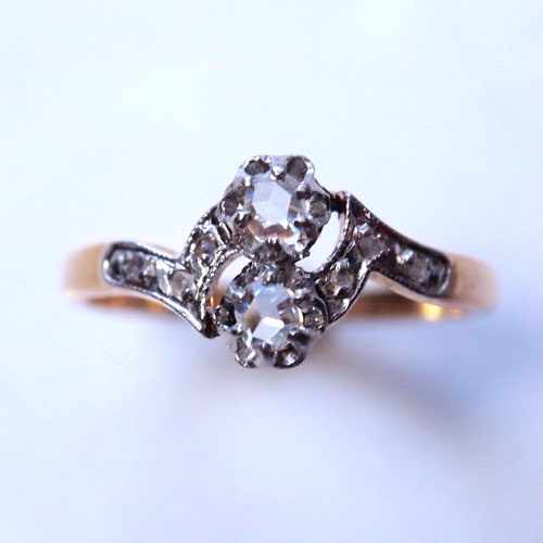 18金&プラチナ ローズカットダイヤモンド リング