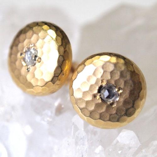 0-18金 ローズカットダイヤモンド 打ち出しピアス