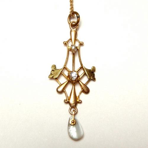 sold アールヌーボー シードパール&天然ダイヤモンド&シェル ゴールドネックレス