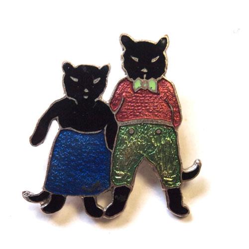 エナメル 黒猫のお兄さんと妹ブローチ