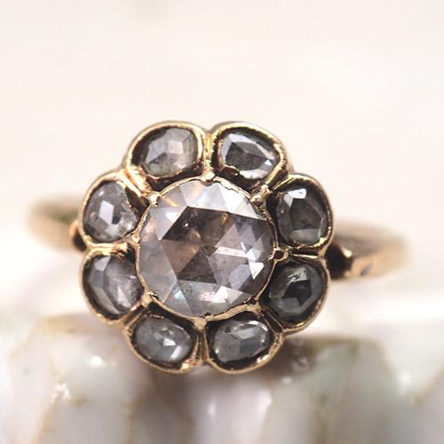 9金 ローズカットダイヤモンド クラスターリング(1.2cm)