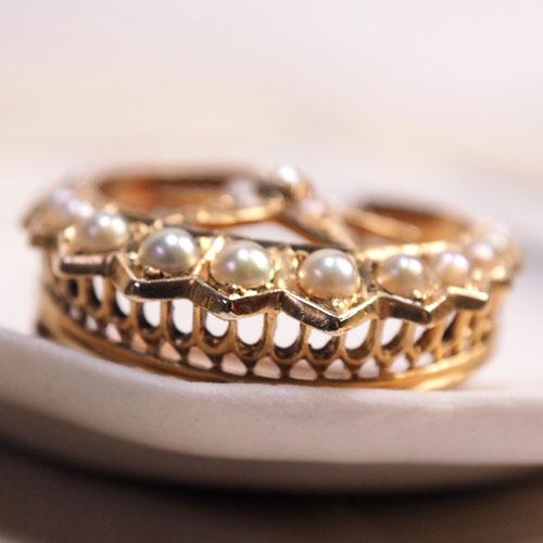 15金 シードパール&ダイヤモンド クレセントムーン&スターブローチ