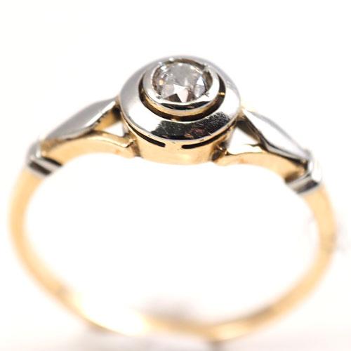 18金 ダイヤモンド アールデコ ダブルサークル ソリティアリング