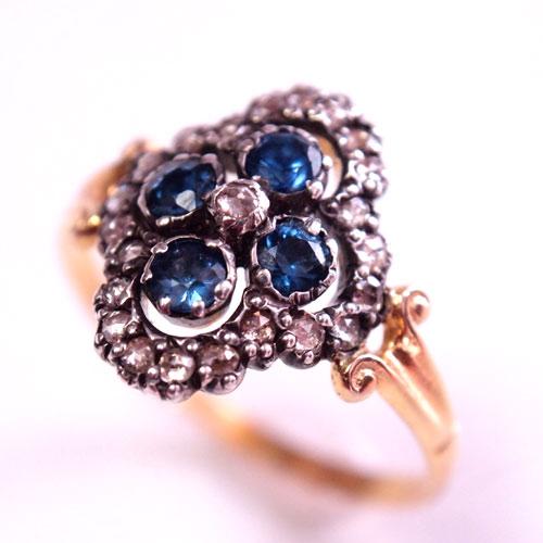 sold 18金 ブルーサファイア&ローズカットダイヤモンド クローバーリング