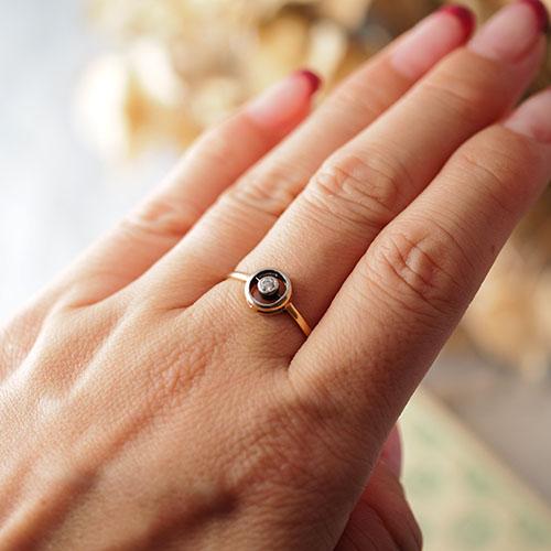 9金 天然ダイヤモンド サークルリング(アンティークジュエリー)