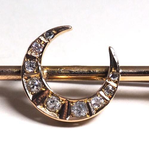 9金 ダイヤモンド クレセントムーン バーブローチ(アンティークジュエリー)