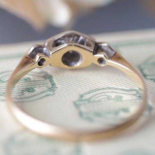 9金 ダイヤモンド アールデコリング(アンティークジュエリー)