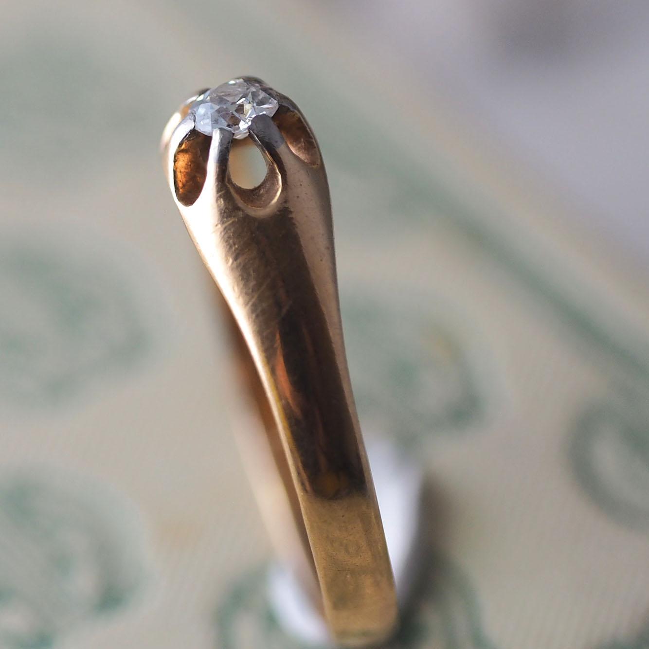 18金ダイヤモンド 1912年ソリティアリング(北欧アンティークジュエリー)