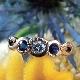 14金 ブルーサファイヤ&ダイヤモンドリング(アンティークジュエリー)