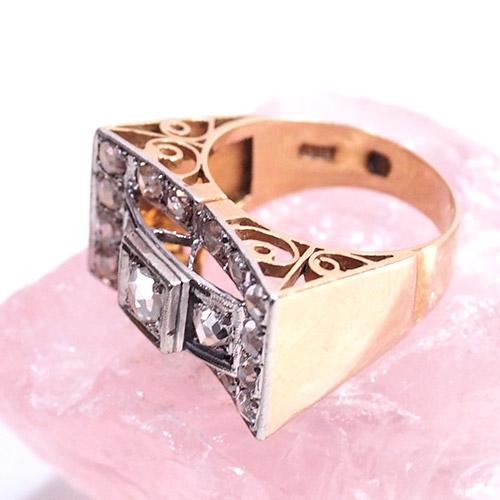 18金 ローズカットダイヤモンド リボン カクテルリング