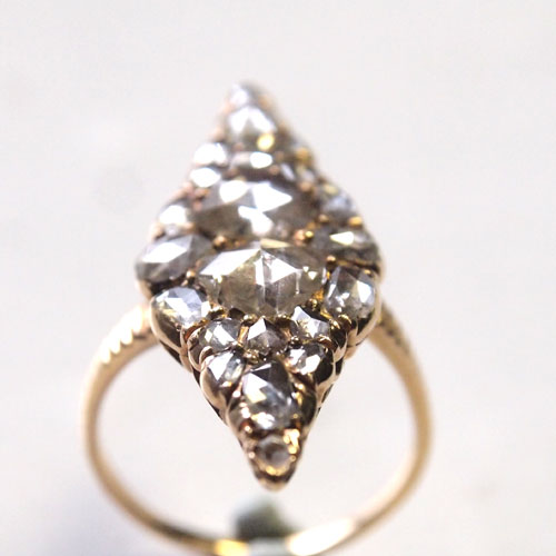 14金 ローズカットダイヤモンド ビッグマーキースリング