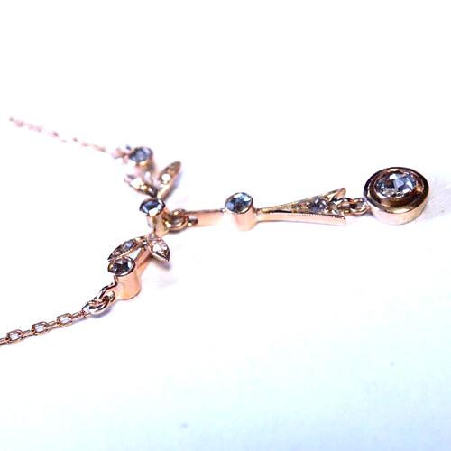 18金ローズカットダイヤモンド フレンチ ネックレス