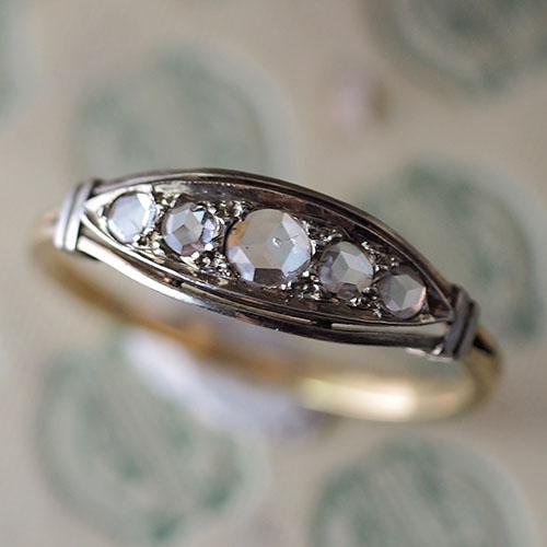 18金 ローズカットダイヤモンド5つ石一文字リング(アンティークジュエリー)
