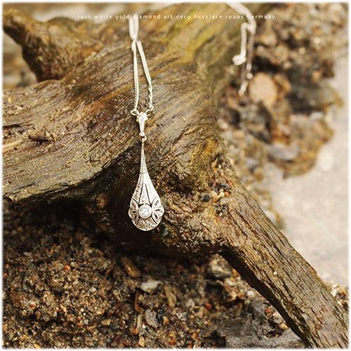 14金 ホワイトゴールド ミルグレイン ダイヤモンド アールデコネックレス(チェーン付き)