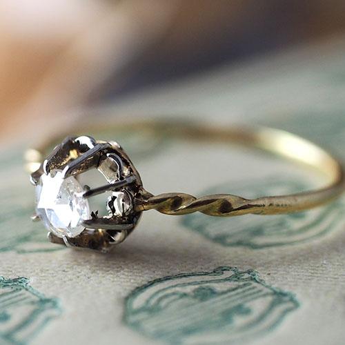 14金 ローズカットダイヤモンド ソリティアリング(アンティークジュエリー)