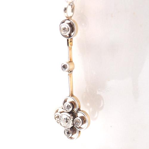 14金 ホワイトゴールド オールドマインカットダイヤモンド クローバーペンダント(アンティークジュエリー)