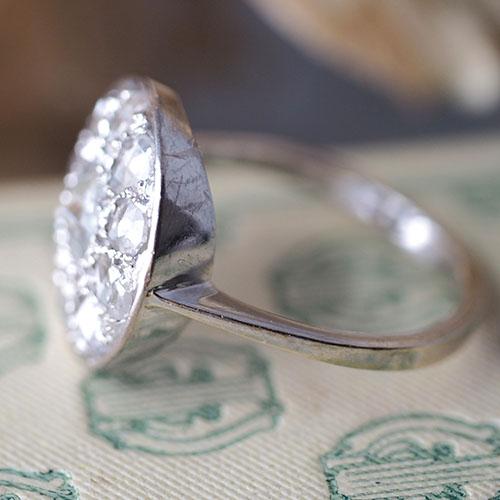 18金ホワイトゴールド ローズカットダイヤモンドクラスターアールデコ リング(アンティークジュエリー)
