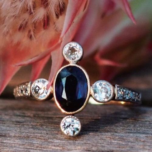 14金 ブルーサファイヤ&ダイヤモンド クロスリング(アンティークジュエリー)