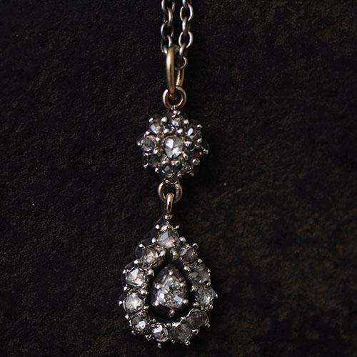 14金シルバー ローズカットダイヤモンド  クラスターティアドロップペンダント