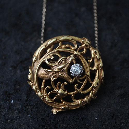 18金 ダイヤモンド ドラゴン ブローチ(ペンダントトップ)