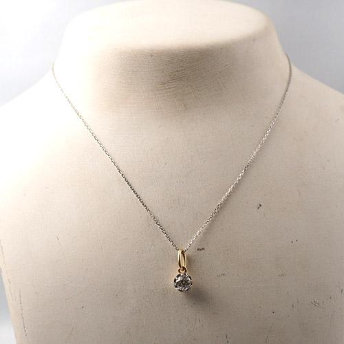 18金 オールドヨーロピアンカット ダイヤモンド ソリティアペンダント