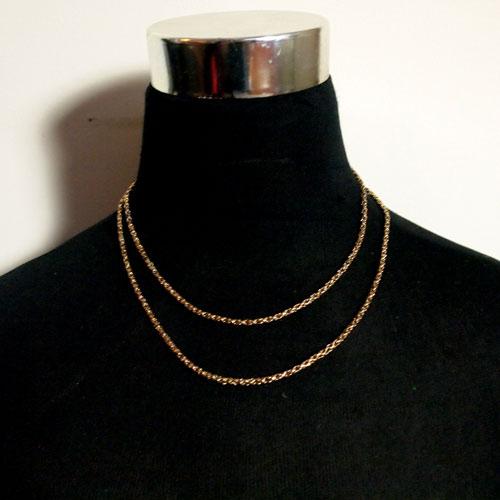 0-9金 ファセットカットロングチェーン (89cm)