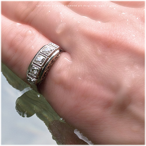 14金 ホワイトゴールド ダイヤモンド 3ストーン アールデコリング (アンティークジュエリー)