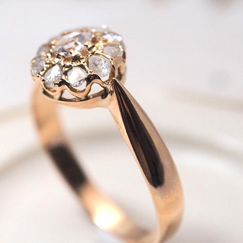 14金 ローズカットダイヤモンド クラスターリング