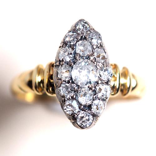 18金 ダイヤモンド マーキースリング(フランス アンティークジュエリー)