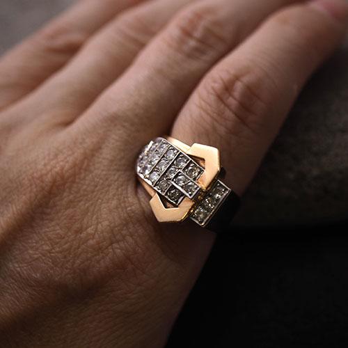 18金 ダイヤモンド アールデコバックルベルトリング