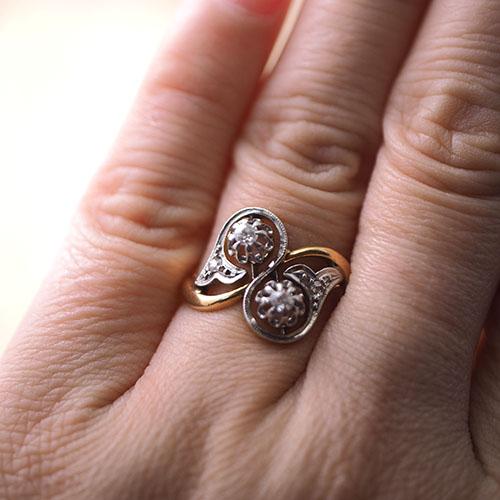 18金 天然ダイヤモンド トワエモアリング