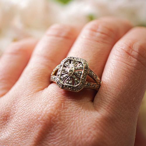 9金 ダイヤモンド スクエアリング(アンティークジュエリー)