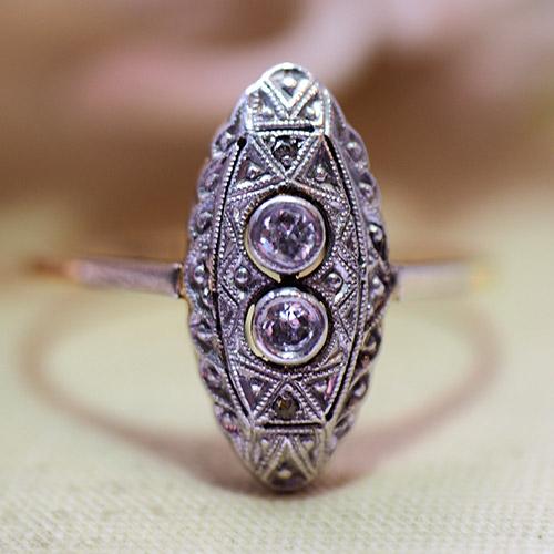14金 ダイヤモンド ミルグレインマーキースリング(アンティークジュエリー)