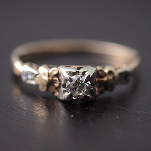 14金 天然ダイヤモンドフラワーソリティアリング(フィンランド)