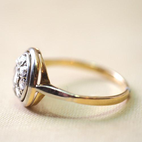 18金 ローズカットダイヤモンド クラスターリング(フランス アンティークジュエリー)