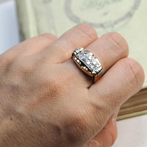 18金 ダイヤモンド アールデコカクテルリング