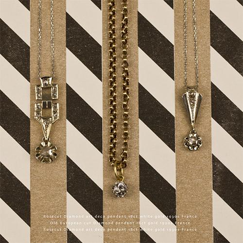 18金ホワイトゴールド ローズカットダイヤモンド カクテルペンダント