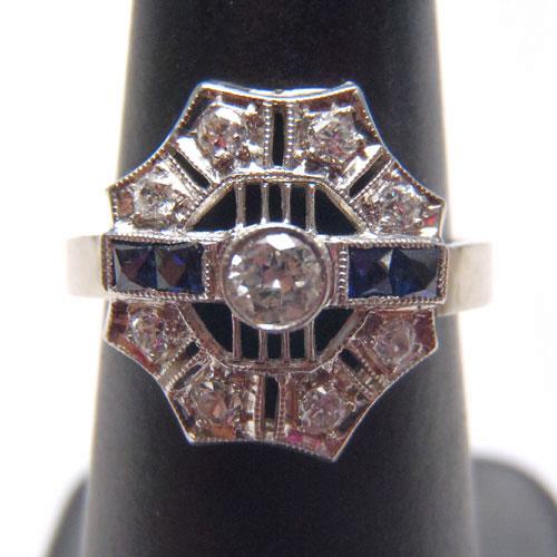 14金ホワイトゴールド ブルーサファイヤ&ダイヤモンド アールデコリング