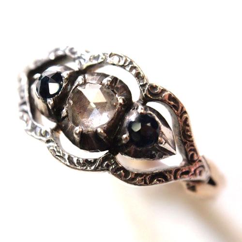 9金 ローズカットダイヤモンド&ブルーサファイヤ ヴィクトリアンリング
