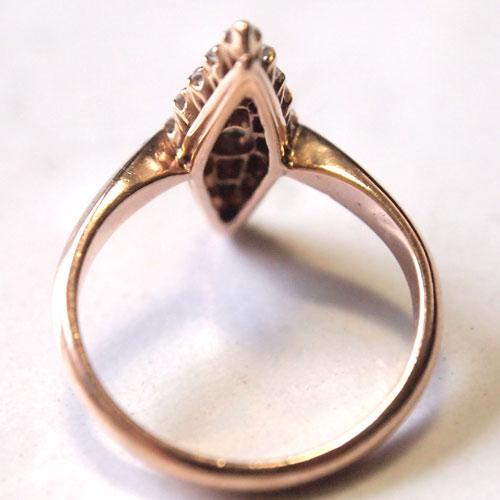14金 ダイヤモンド&ブルーサファイヤ マーキースデザインリング