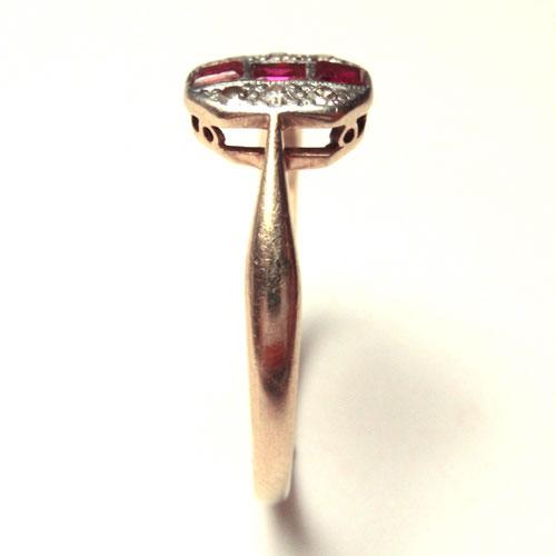 sold 18金 天然ダイヤモンド&天然ルビー アールデコリング
