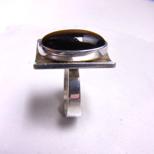sold-N.E.FROM オーバル タイガーアイ リクタングルリング